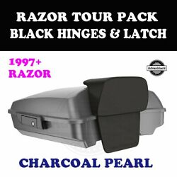 Charcoal Pearl Razor Tour Pack Black Hinge Latch For 97-20 Harley Street Touring