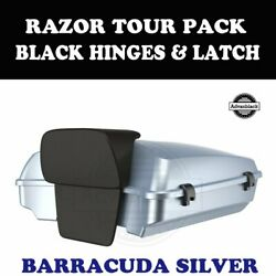 Barracuda Silver Razor Tour Pack Black Hinges Latch For 97-20 Harley Touring