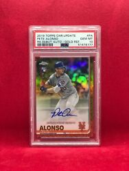 2019 Topps Chrome Update Pete Alonso Rc Gold Refractor Auto Ed 28/50 Psa 10