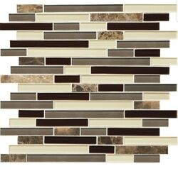 American Olean Mosaic Chateau Emperador Linear Stone Glass Marble 0494086 Lot 10
