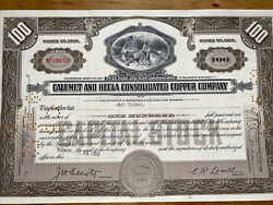 X155 1952 Calumet And Hecla Consolidated Copper Co Mi Mining Stock Certificate