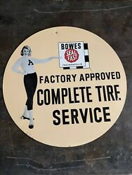 Vintage 1950s Bowes Seal Fast Girl Racing Advertising Sign Gas And Oil