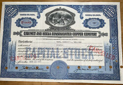 395 Blue 1937 Calumet And Hecla Copper Co Mining Stock Certificate