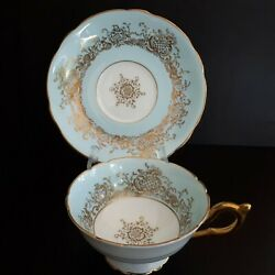 Beautiful Vintage Blue And Gold Coalport Wide Mouth Tea Cup