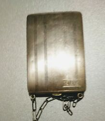 @ Sterling Silver Antique Chatelaine Compact Coin Holder Dance W Chain Hallmark