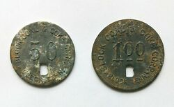 Block Coal And Coke Corp.tn Campbell County Coal Scrip Tokens 1 And 50 Cents