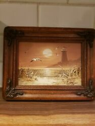 Vintage Oil Painting Seascape Sunset By Bernard Duggan Signed With Antique Frame