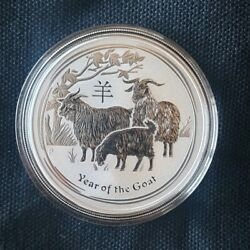 2015 Australian Lunar Year Of The Goat - 1oz Silver Coin In Capsule