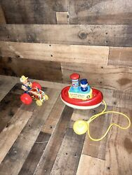 Vintage Fisher Price Pull Toy Farmer And Tractor 1961 No. 629 Original Lot Of 2