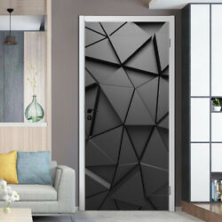 Door Stickers Simulation Mural PVC Decal For Living Room 3D Geometric Home Decor