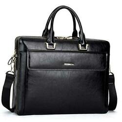 Women Oil Wax Leather Briefcases Slim Large Business 15.6 Laptop Black