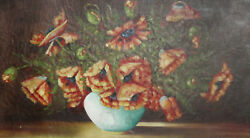 Antique Oil Still Life With Poppy Flowers Painting Signed