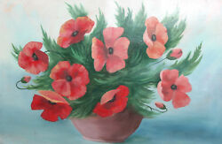 Antique Oil Still Life With Poppy Flowers Painting