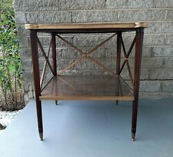 Theodore Alexander Eglomise Walnut End Lamp Table W/ Shelf Glass Brass Accents
