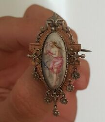 Antique Silver Louis Xviii Painting Miniature Brooch Early 19th