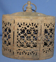 Antique Hand Made Ornate Metal Cage Lantern Lamp Candle Holder