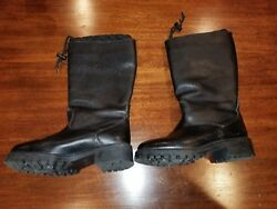 Ll Bean Black Leather Wool Lined Boots Womenand039s Size 9m Made In Portugal