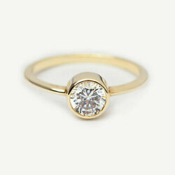 New Year Sale 0.80 Ct Real Diamond Engagement Ring Fine 14k Yellow Gold Size M N
