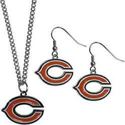 Chicago Bears Dangle Earring And Necklace Set [new] Nfl Neck Lace Jewelry