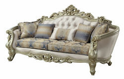 Acme Traditional Gorsedd Sofa With Fabric And Antique White Finish 52440