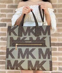 Michael Kors Kenly Large NS Tote Satchel Graphic Logo Brown MK Army Green Multi $145.00