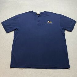 Vintage Disney Mickey Mouse T-shirt Size L Blue Embroidered Henley Mens