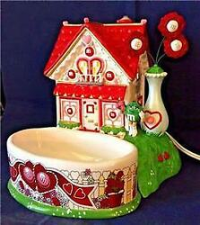 Nib Retired 2004 Dept 56 M And M's Valentine's House Lighted House And Candy Dish