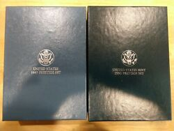 1987 S And 1990 S Us Mint Prestige Proof Sets Mint Boxes Coas Silver Dollars