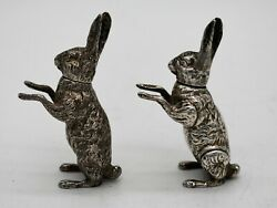 Rare Pair Of English Sterling Silver Hare Pepper Pots. Chester 1911. Grey And Co.
