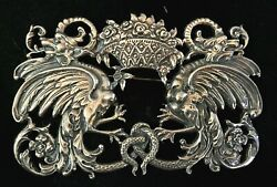 Antique Large Sterling Silver Brooch Dragons 4in.x 2 1/2in .magnificant Quality