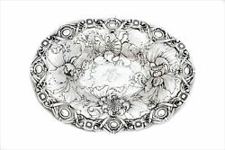 Antique 925 Sterling Silver Handmade Chased Heavy Floral Oval Bowl Dish
