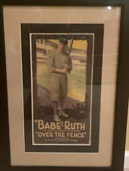 Original Rare Babe Ruth Over The Fence 1932 Poster Plated Litho Authenticated