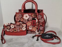 COACH ROGUE 25 TEA ROSE Washed RED Bag amp; Matching CLUTCH VERY RARE SET $1999.99