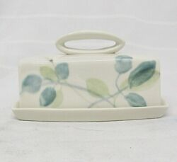 Red Wing Pottery Merrileaf Pattern Hand Painted 2 Piece Butter Dish