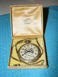 Vtg Elgin National Watch Co. Pocket Watch Art Deco Style And 14k Gold 16 Watch Fo