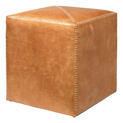 Jamie Young Small Ottoman In Buff Leather 20otto-smle