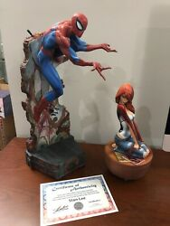 Set Sideshow Collectibles Mary Jane Spiderman Campbell Statue Signed By Stan Lee