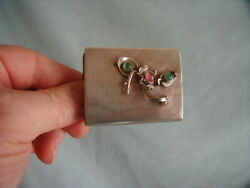 Hand Wrought Sterling Matchbook Holder W/ Stones By Paulette Loomis Cape Cod, Ma