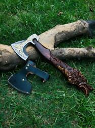 Brussles Custom Handemade Axe Wolf Fenrir Norse Mythology, The Great Wolf