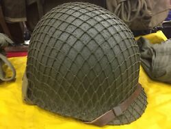 Wwii M1 Helmet Front Seam Fixed Bale Resto Repaint W/ Pw Westy Capac Liner
