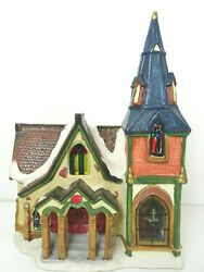 Hand Painted Porcelain Lighted House Christmas Delights Glass Windows Cord Light