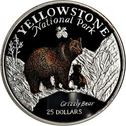 1996 25 Cook Islands ✪ Yellowstone National Park ✪ 5 Oz Grizzly Bear ◢trusted◣