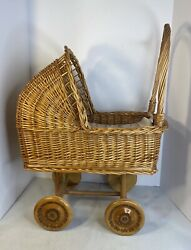 Leopold Brown Wicker Baby Doll Carriage Stroller Buggy With Wood Wheels Pad