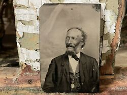 Antique African American Man Tintype In Suit And Pocket-watch Photo Black Interest