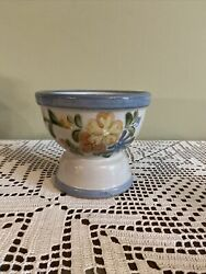 Louisville Stoneware Country Flower Blue Gray/ Footed / Pedestal Bowl 5andrdquo X5.5andrdquo