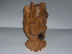 Vintage Hand Carved Wood Fairy Tree Gnome House 9