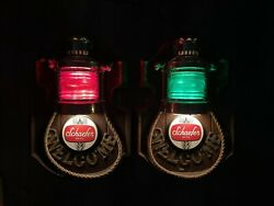 Vintage Schaefer Beer Nautical Welcome Lighted Bar Signs – Set Of 2 Green And Red