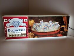 """1970's Vintage Budweiser Wagon And Clydesdales Beer Cans Sign Light 30""""x11 - Rare"""