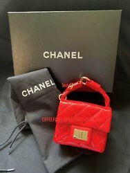 Authentic CHANEL Patent Matelasse 2.55 Poppy Red Bag for Ankle Wrist Charm $1395.00