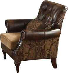 Acme Dreena Chair With Pillow In Brown And Chenille Finish 05497